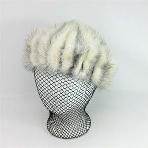 Vintage Fur Hat Cream Genuine w/Elastic